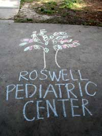 Sidewalk chalk art at Roswell Pediatric Center